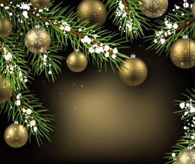 Golden christmas ball with gold new year background vector