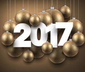 Golden new year background with 2017 christmas baubles vector