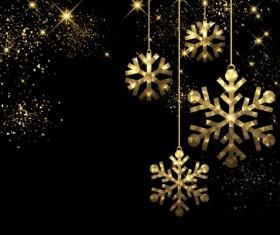 Golden snowflake christmas decorative vector