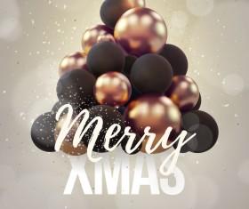 Gray xmas party flyer template with balloon christmas tree vector 01