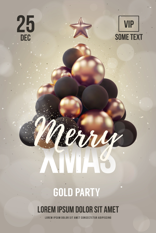 gray xmas party flyer template with balloon christmas tree vector 01