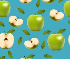 Green apple with slice vector seamless pattern