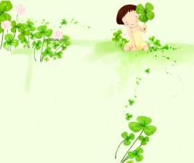 Green cartoon child with plant Stock Photo