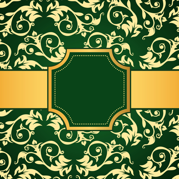 Green decoration pattern background with golden frame vector 03
