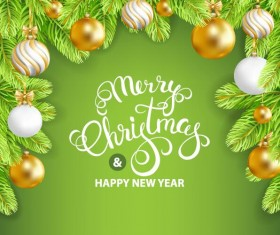 Green styles new year with christmas greeting card vector