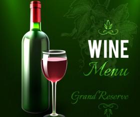 Green styles wine menu vector