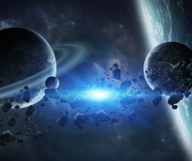 Group of planets in space HD picture 09