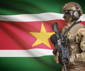 Hand-held machine gun soldier with the flag background HD picture 01