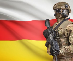 Hand-held machine gun soldier with the flag background HD picture 02