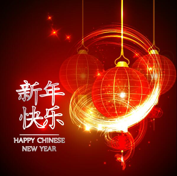 happy chinese new year greeting card with lantern vector 11