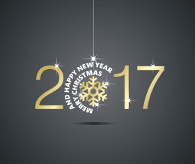 Happy New Year 2017 Christmas ball snowflake black vector
