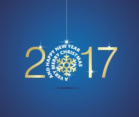 Happy New Year 2017 Christmas ball snowflake blue vector