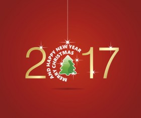 Happy New Year 2017 Christmas ball tree red vector