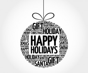 Happy holiday with word cloud christmas ball vector