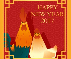 Happy new year 2017 background with rooster vector 04