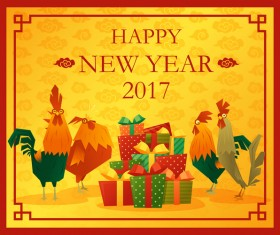 Happy new year 2017 background with rooster vector 05