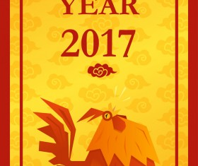 Happy new year 2017 with chicken Vertical banner vector 01