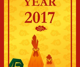 Happy new year 2017 background with rooster vector 03
