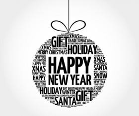 Happy new year with word cloud christmas ball vector
