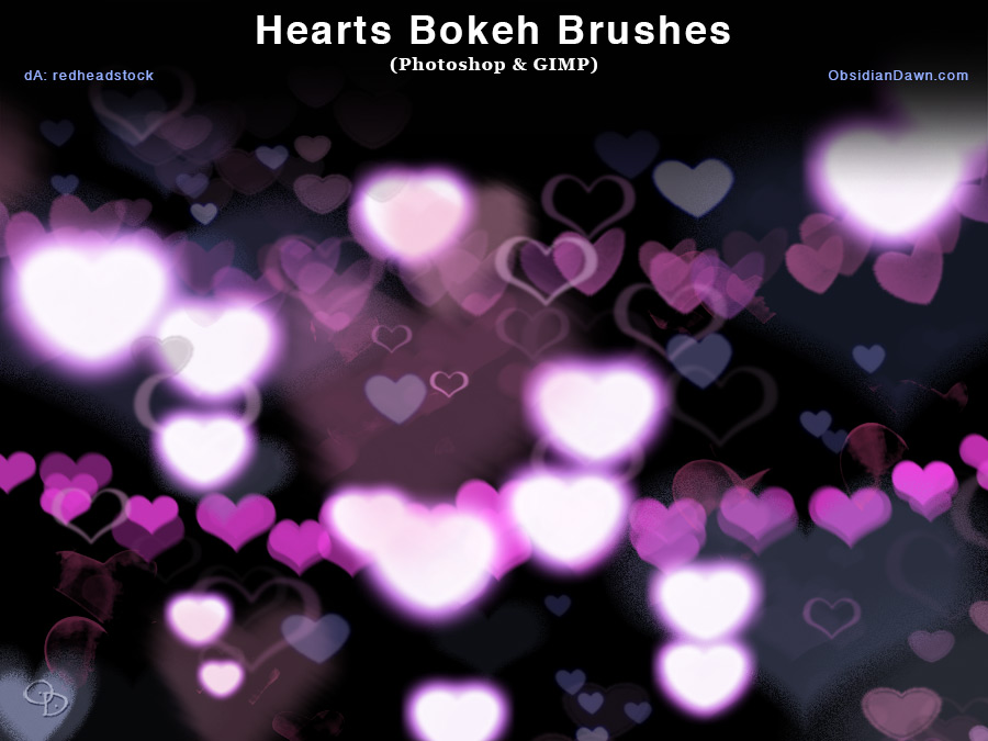 Heart Bokeh and GIMP photoshop brushes free download