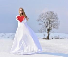 Heart-shaped girl tree Stock Photo