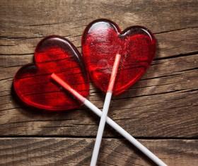 Heart-shaped lollipop Stock Photo