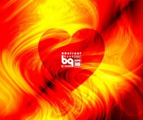 Heart with red abstract background vector