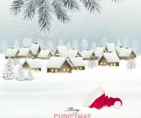 Holiday christmas background with winter landscare and santa hat vector