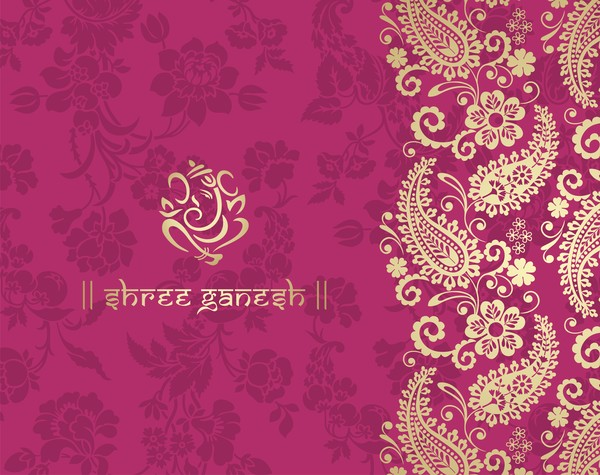 Indian Ethnic Pattern With Pink Backgrounds Vector 02 Free Download