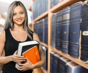 Library Smiling young girl HD picture