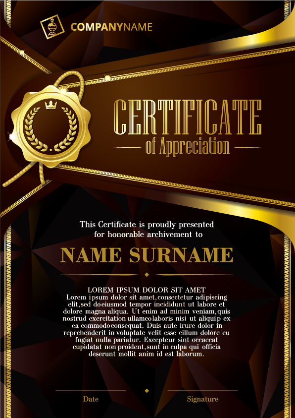 luxury diploma and certificate template vector design 08
