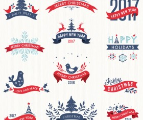 Merry Christmas and New Year Banners with Labels vector