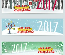 Merry christmas 2017 banners desgin vector 02