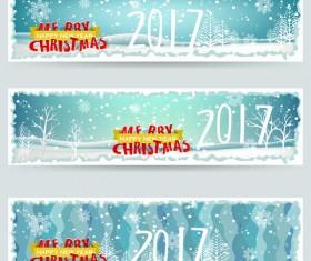 Merry christmas 2017 banners desgin vector 03