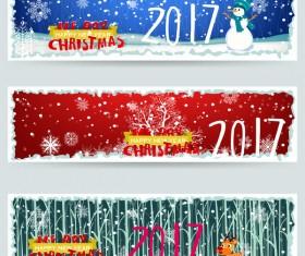 Merry christmas 2017 banners desgin vector 04
