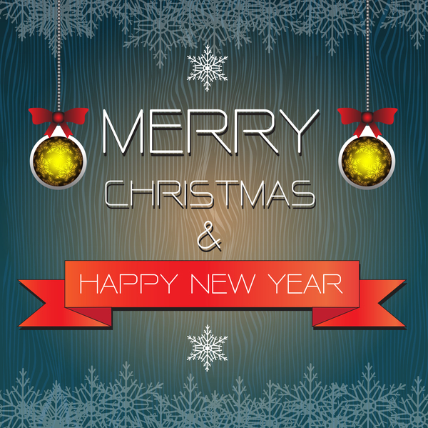 merry christmas card with new year banner vector 03