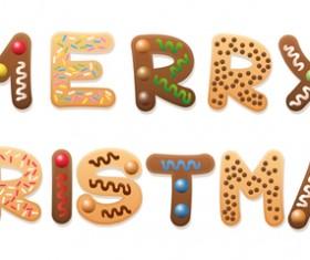 Merry christmas cookies gingerbread text design vector