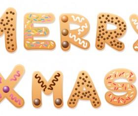 Merry xmas cookies text design vector