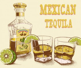 Mexican tequila retro poster vector 01