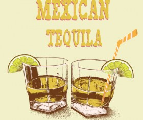 Mexican tequila retro poster vector 02