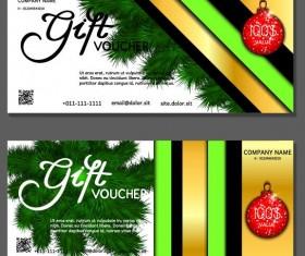 New Year gift voucher template vectors set 01