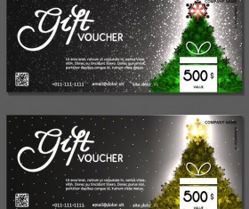 New Year gift voucher template vectors set 05