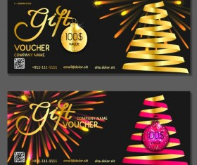 New Year gift voucher template vectors set 06