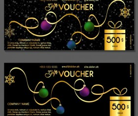 New Year gift voucher template vectors set 07