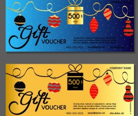 New Year gift voucher template vectors set 08