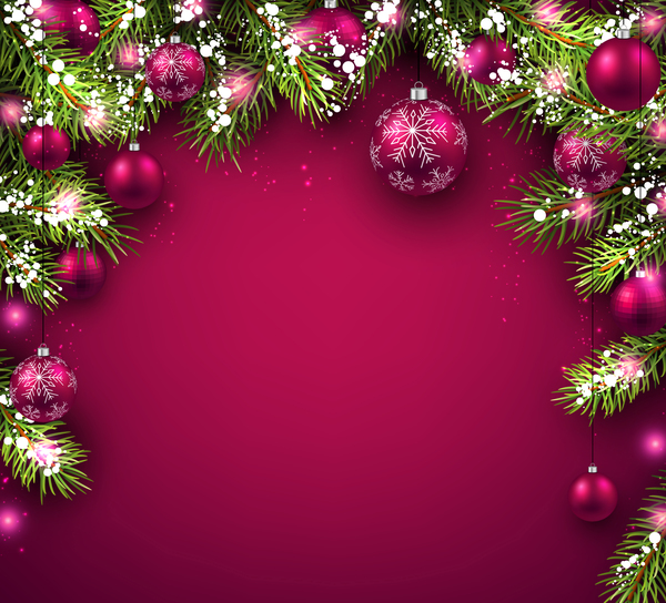 new year background with red christmas balls vectors