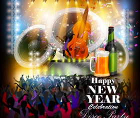 New year disco party poster vectors material 03