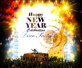 New year disco party poster vectors material 04