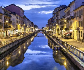 Night view of the city of Milan Stock Photo