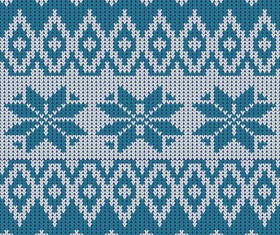 Nordic knitted pattern with snowflakes vector